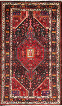 Hand-Knotted Black Geometric Hamedan Persian Area Rug Wool 4x6