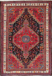 Hand-Knotted Black Tribal Geometric Zanjan Persian Wool Rug 3x5