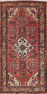 Hand-Knotted Red Geometric Hamedan Persian Runner Rug Wool 3x7
