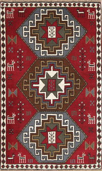 Hand-Knotted Red Tribal Geometric Ghoochan Persian Area Rug Wool 4x6
