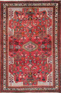 Hand-Knotted Red Tribal Hamedan Persian Wool Rug 3x5