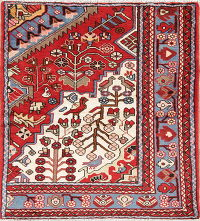 Hand-Knotted Red Tribal Nahavand Hamedan Persian Wool Rug 3x5