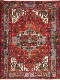 Hand-Knotted Red Geometric Hamedan Persian Area Rug Wool 4x5