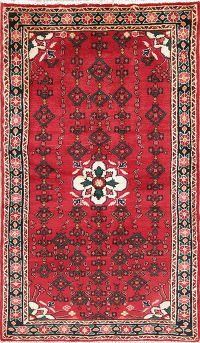 Hand-Knotted Red Geometric Hamedan Persian Runner Rug Wool 3x6