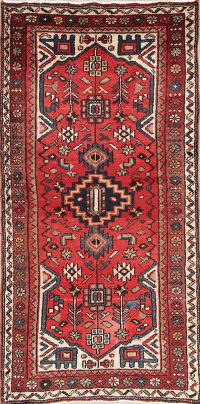 Hand-Knotted Red Tribal Hamedan Persian Runner Rug Wool 3x6