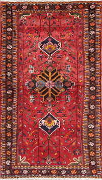 Hand-Knotted Red Tribal Geometric Hamedan Persian Runner Rug Wool 3x6