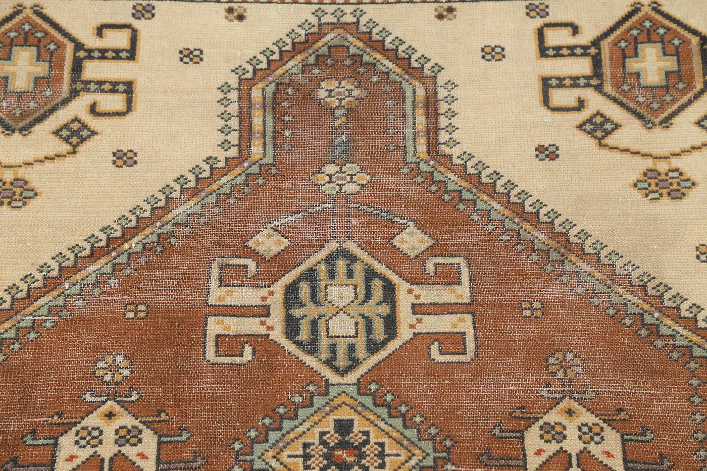 Hand-Knotted Rust Geometric Bokhara Persian Area Rug Wool 4x6