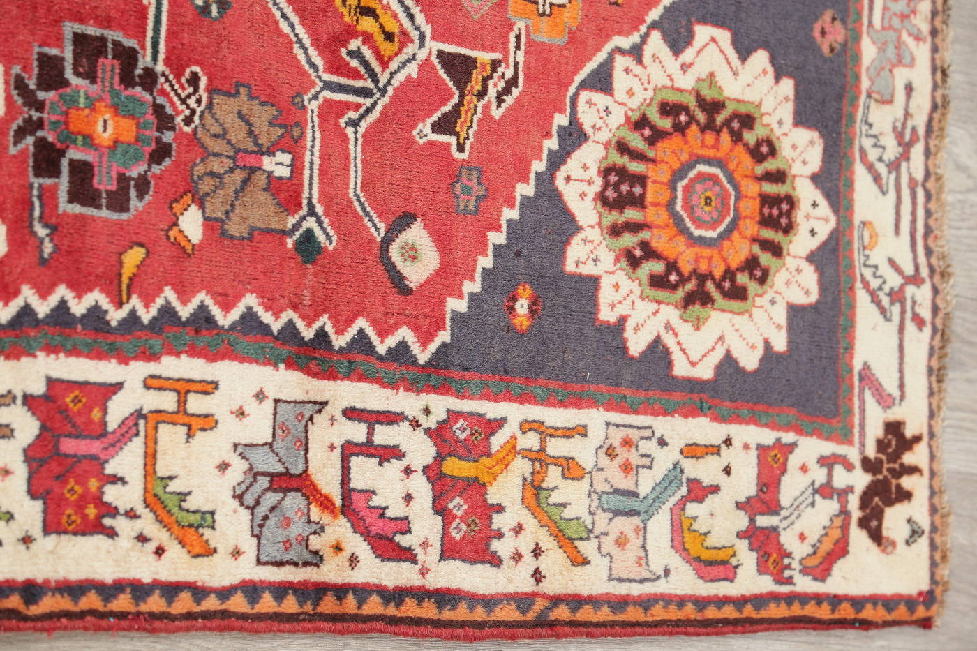 Hand-Knotted Red Tribal Kashkoli Persian Area Rug Wool 4x6
