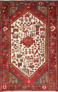Hand-Knotted Ivory Tribal Hamedan Persian Area Rug Wool 4x6