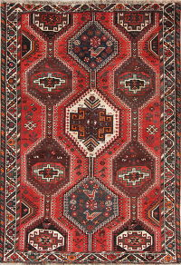 Hand-Knotted Red Geometric Shiraz Persian Area Rug Wool 5x8