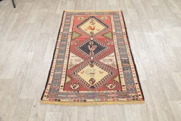 Hand-Woven Rust Geometric Kilim Shiraz Persian Rug Wool 3x5