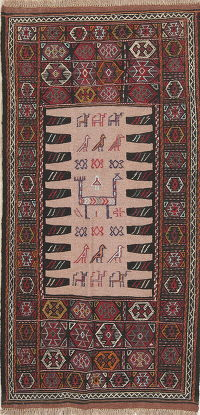Hand-Woven Tribal Geometric Kilim Shiraz Persian Runner Rug Wool 3x6