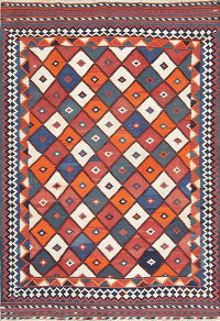 Hand-Woven Geometric Kilim Shiraz Persian Area Rug Wool 5x8