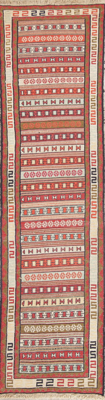 Hand-Woven Geometric Kilim Shiraz Persian Runner Rug Wool 2x8