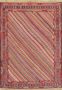 Hand-Woven Geometric Kilim Shiraz Persian Area Rug Wool 5x7