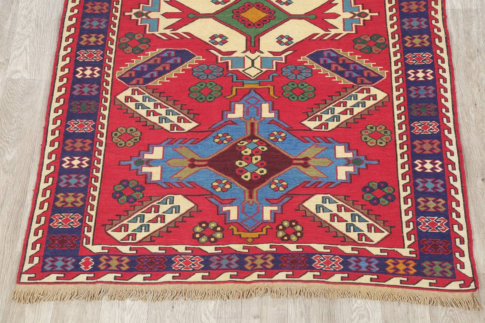 Hand-Woven Red Geometric Kilim Shiraz Persian Area Rug Wool 5x7
