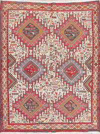 Hand-Woven Ivory Tribal Kilim Shiraz Persian Area Rug Wool 5x6