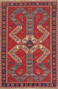 Hand-Woven Red Geometric Soumack Kilim Kazak Persian Area Rug Wool 6x9