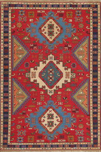 Hand-Woven Red Geometric Soumack Kilim Kazak Persian Area Rug Wool 7x10