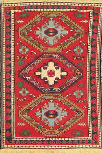 Hand-Woven Red Geometric Kilim Shiraz Persian Area Rug Wool 4x6