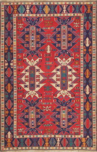Hand-Woven Red Geometric Soumack Kilim Kazak Persian Area Rug Wool 6x10