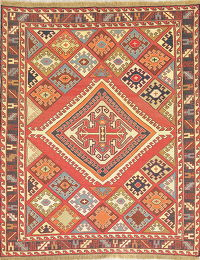 Hand-Woven Red Geometric Kilim Shiraz Persian Area Rug Wool 5x6