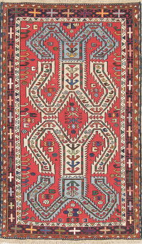 Hand-Woven Red Geometric Sumak Kilim Shiraz Persian Rug Wool 3x5