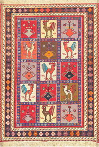 Hand-Woven Animal Pictorial Sumak Kilim Shiraz Persian Rug Wool 3x5