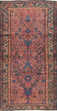 Hand-Knotted Pink Floral Lilian Hamedan Persian Runner Rug Wool 2x5