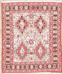 Hand-Woven Tribal Kilim Shiraz Persian Rug Square Wool/Silk 3x3