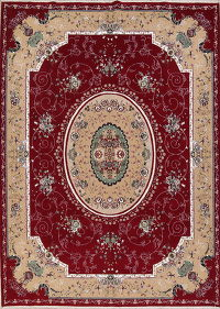 Floral Red Aubusson Turkish Oriental Area Rug Wool 10x13