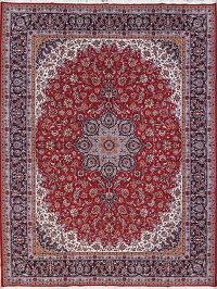 Floral Red Najafabad Isfahan Turkish Oriental Area Rug Wool 10x12