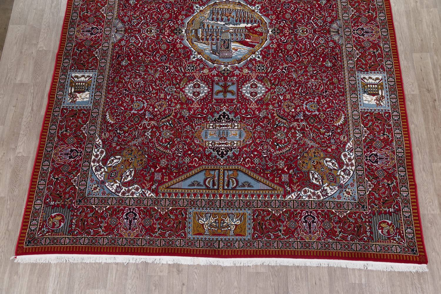 Floral Pictorial Red Oushak Turkish Oriental Area Rug Wool 10x13