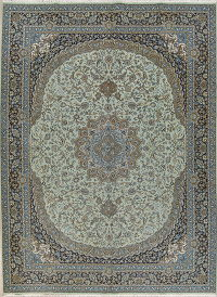 Floral Green Kashan Turkish Oriental Area Rug Wool 10x13
