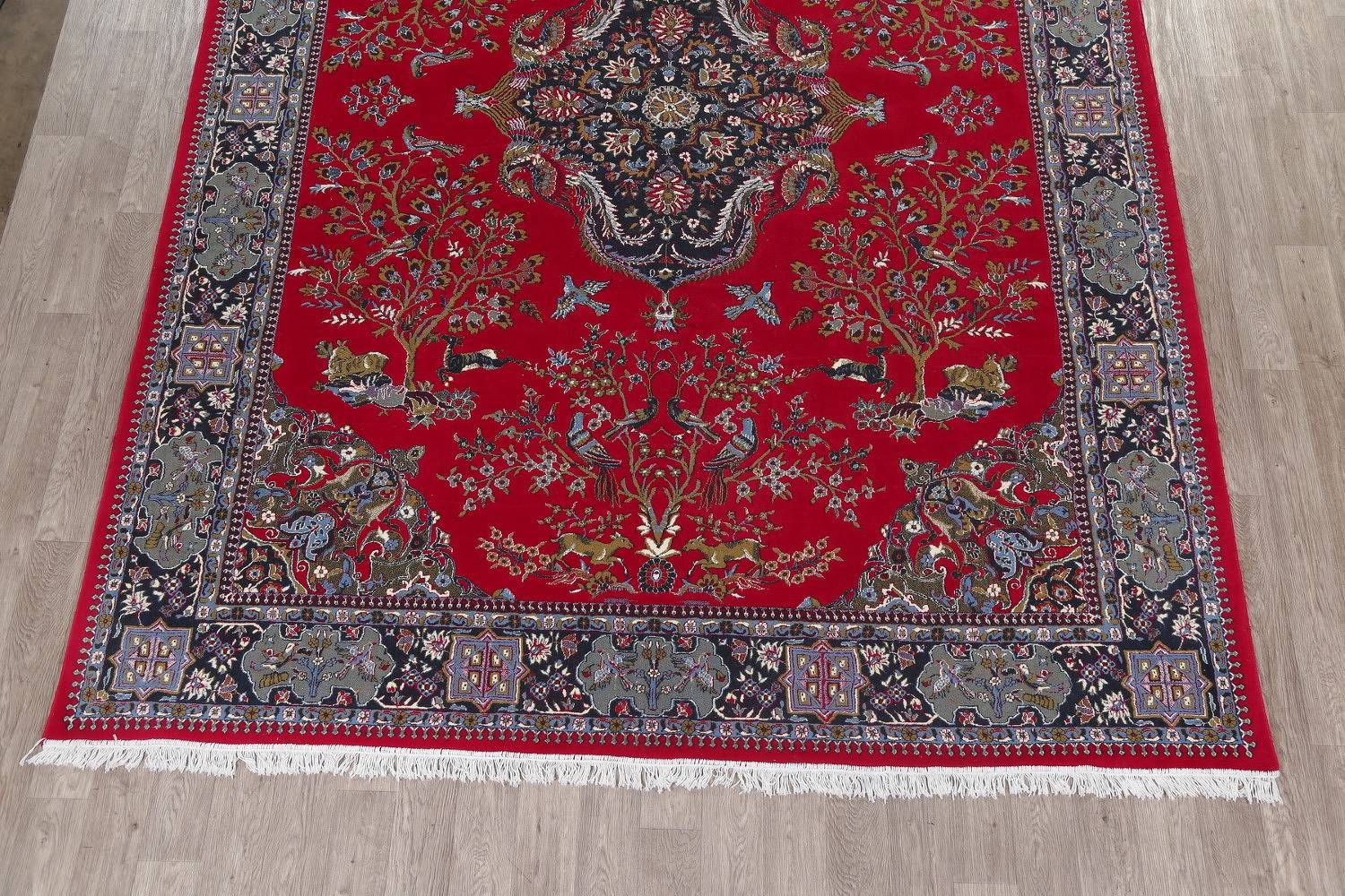 Animal Pictorial Red Najafabad Isfahan Turkish Oriental Area Rug Wool 10x13