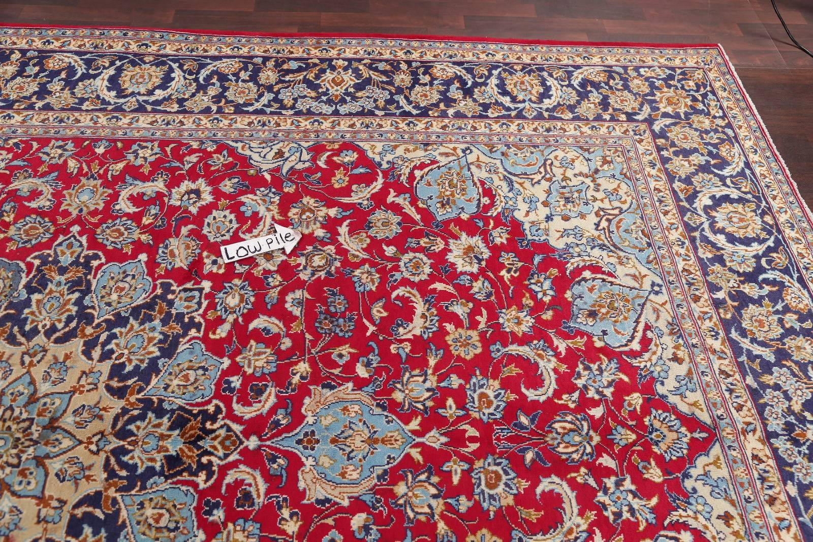 Hand-Knotted Red Floral Najafabad Persian Area Rug Wool 10x13