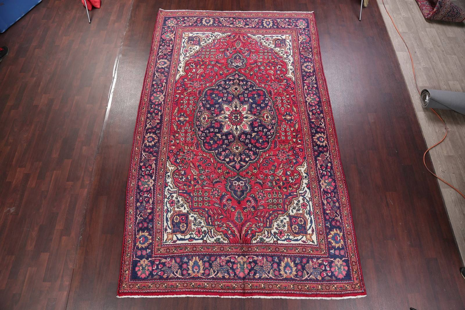 Antique Hand-Knotted Red Floral Mashad Persian Area Rug 7x12