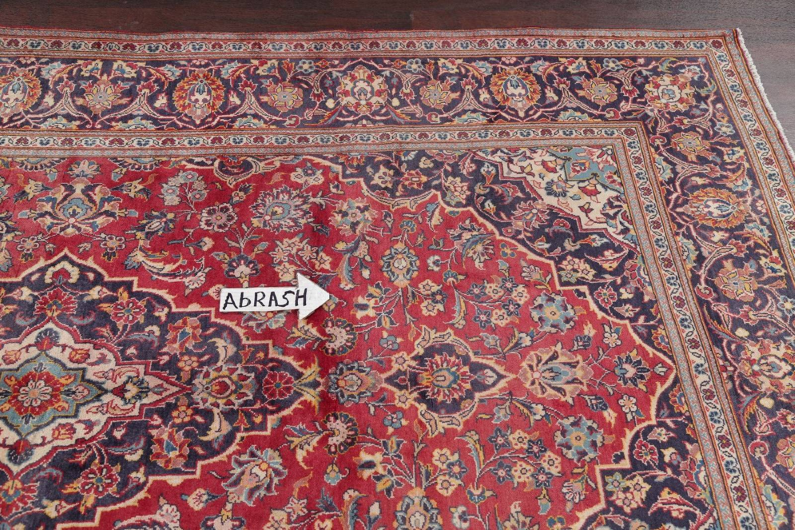 Floral Red Kashan Persian Hand-Knotted Area Rug Wool 6x10
