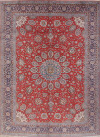 Floral Red Sarouk Persian Hand-Knotted Area Rug Wool 9x13