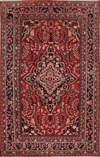Floral Red Lilian Hamedan Persian Hand-Knotted Area Rug 8x12