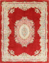 Red Floral Peking Art Deco Chinese Oriental Handmade Area Rug 9x12