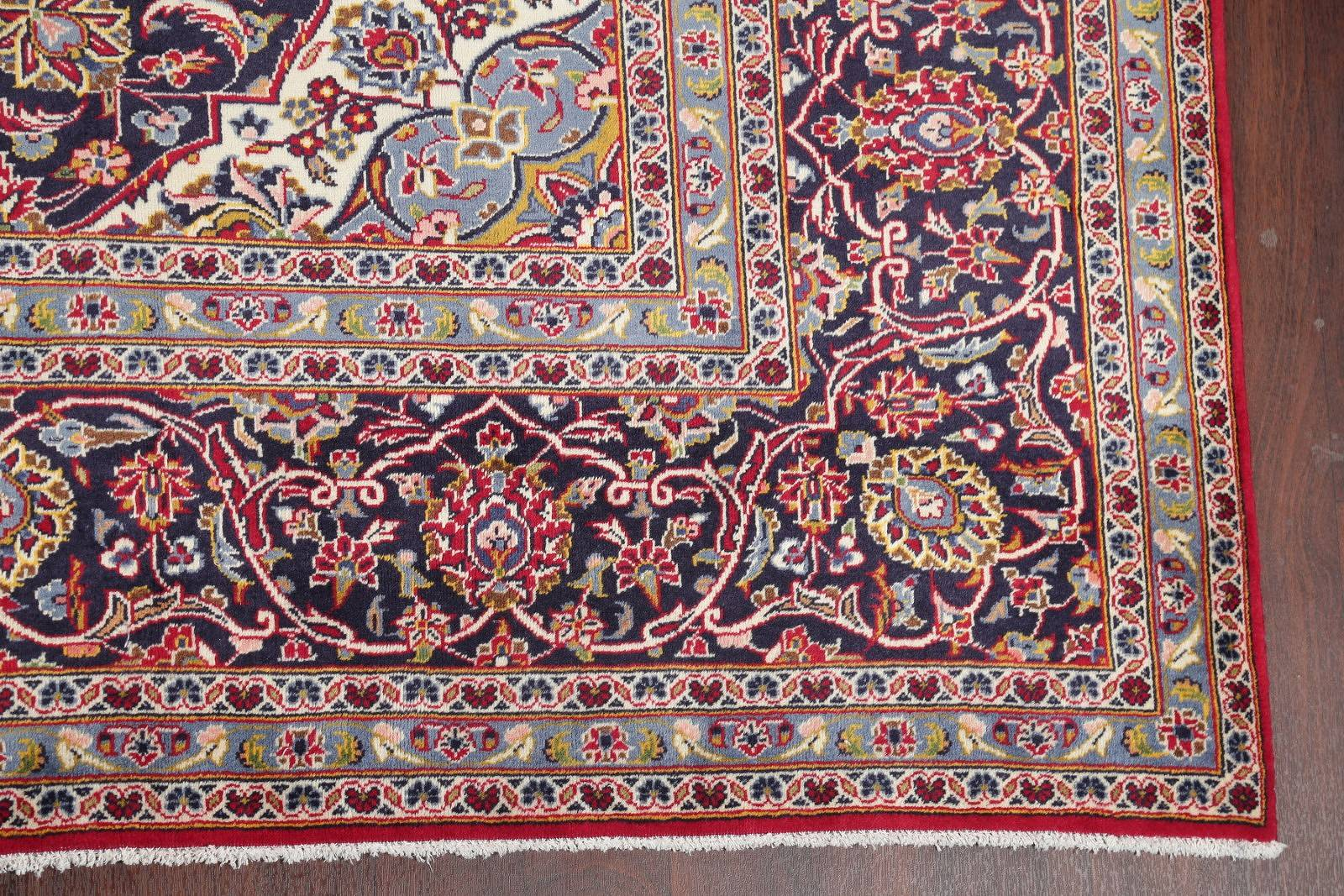 Floral Red Kashan Persian Hand-Knotted Area Rug Wool 10x13