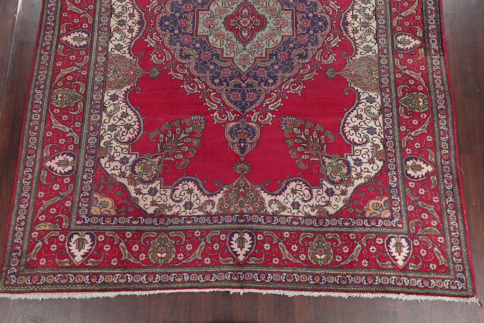 Hand-Knotted Red Geometric Tabriz Persian Area Rug Wool 10x13