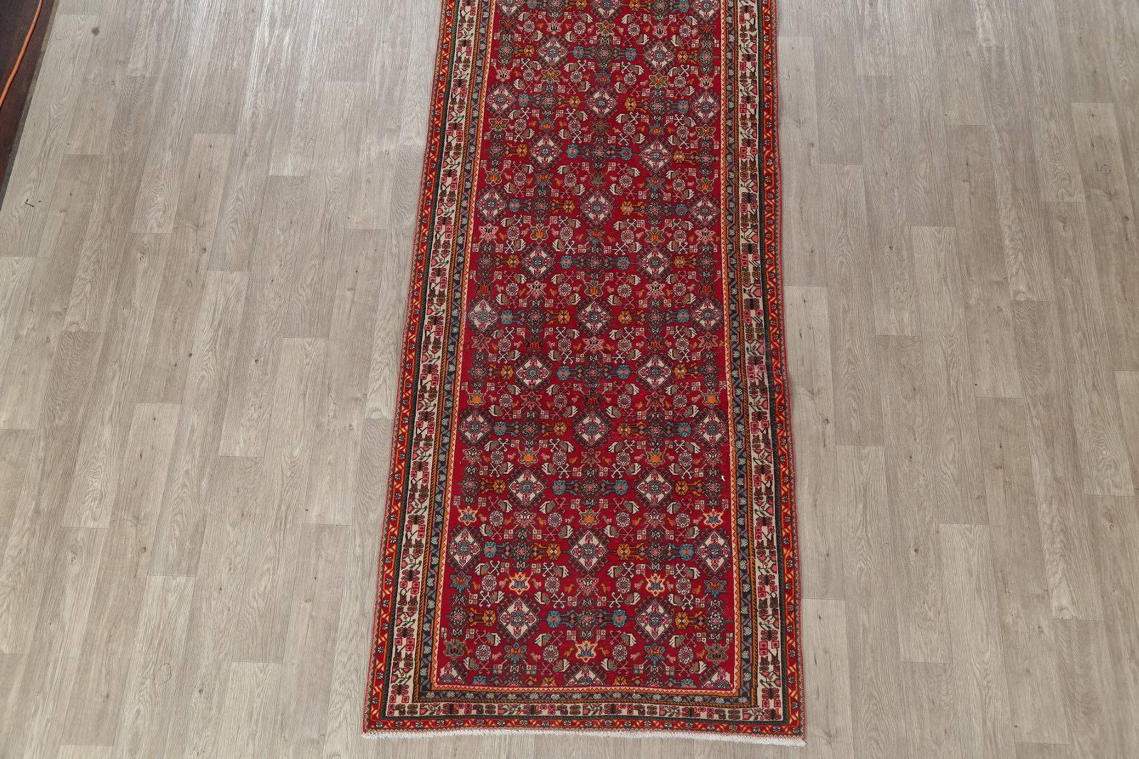 All-Over Geometric Red Kashkoli Persian Hand-Knotted Runner Rug Wool 4x13
