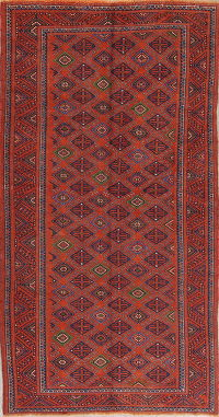 Geometric Rust Balouch Bokhara Persian Hand-Knotted Runner Rug Wool 5x10