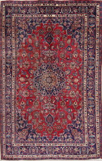 Floral Red Mashad Persian Hand-Knotted Area Rug Wool 6x10