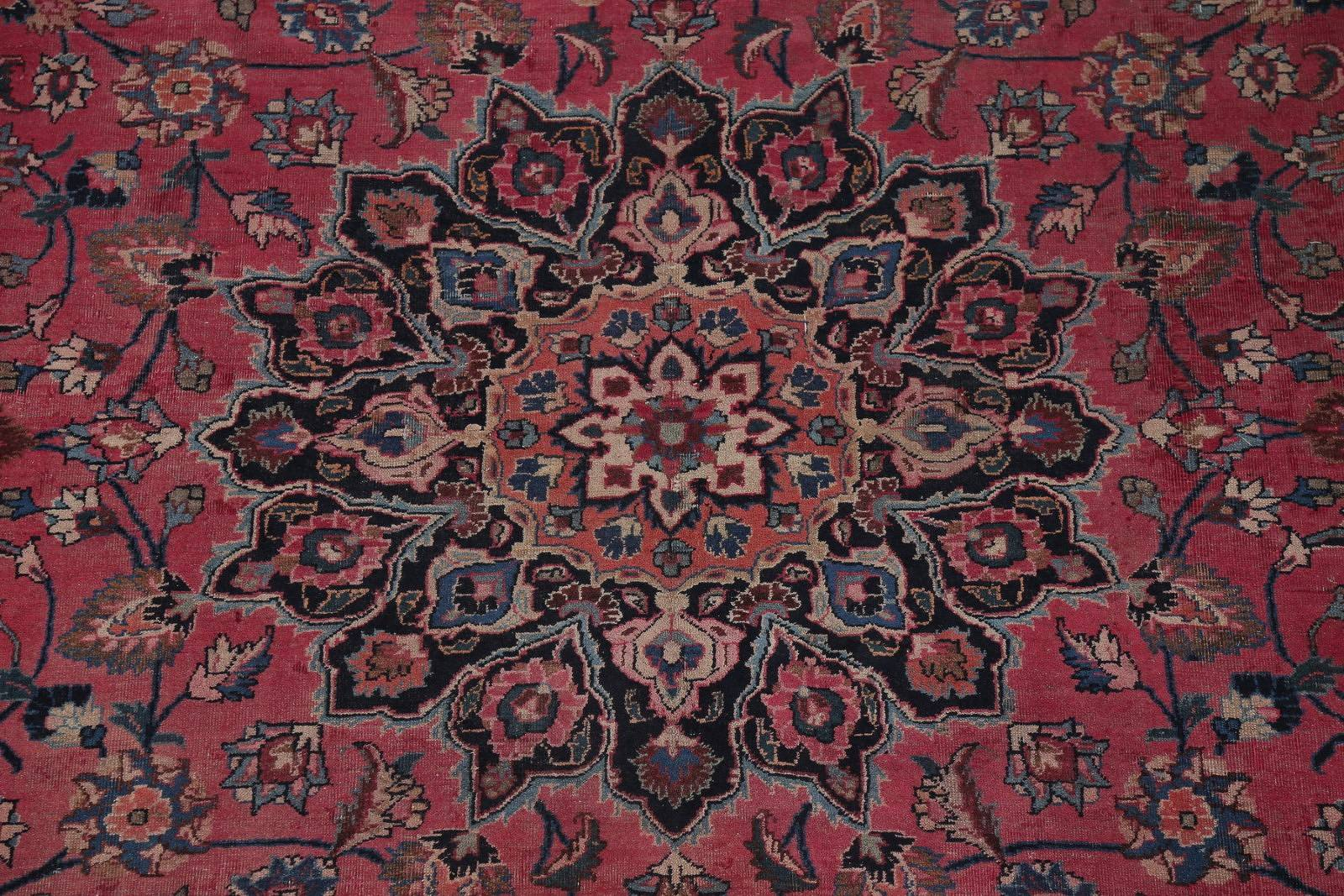Floral Red Mashad Persian Hand-Knotted Area Rug Wool 6x9
