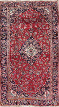 Floral Red Kashan Persian Hand-Knotted Area Rug Wool 4x8