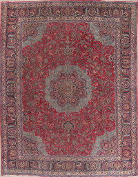 Floral Red Kashmar Persian Hand-Knotted Area Rug Wool 10x12