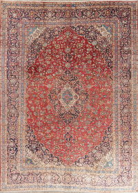 Floral Medallion Red Kashan Persian Hand-Knotted Area Rug Wool 9x13